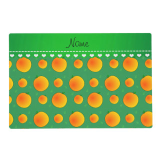 Personalized name green peaches green leaves swirl placemat