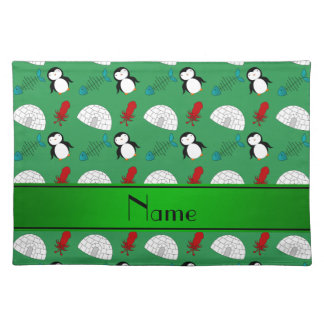 Personalized name green penguins igloo fish squid cloth placemat