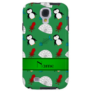 Personalized name green penguins igloo fish squid galaxy s4 case