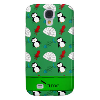 Personalized name green penguins igloo fish squid galaxy s4 cover