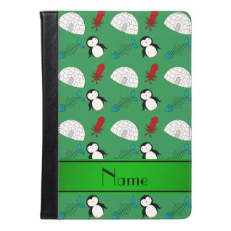 Personalized name green penguins igloo fish squid iPad air case