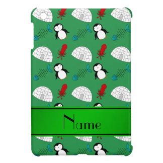Personalized name green penguins igloo fish squid iPad mini cover
