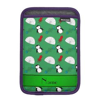 Personalized name green penguins igloo fish squid sleeve for iPad mini