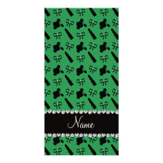 Personalized name green perfume lipstick bows photo card