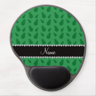 Personalized name green pineapple pattern gel mouse mat