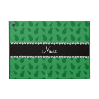 Personalized name green pineapple pattern covers for iPad mini