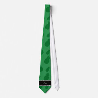 Personalized name green pineapples tie