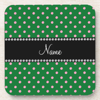 Personalized name Green pink diamonds Coaster