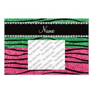 Personalized name green pink glitter zebra stripes photo print