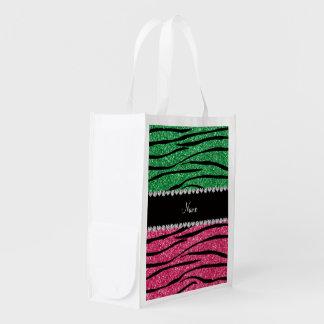 Personalized name green pink glitter zebra market tote