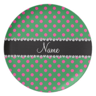 Personalized name green pink polka dots melamine plate