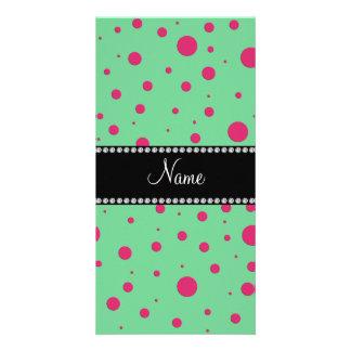 Personalized name green pink polka dots photo card