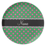 Personalized name green pink polka dots plates