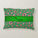 Personalized name green poker chips accent pillow