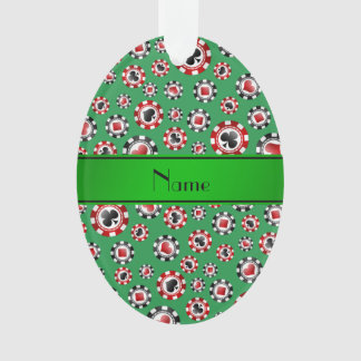 Personalized name green poker chips