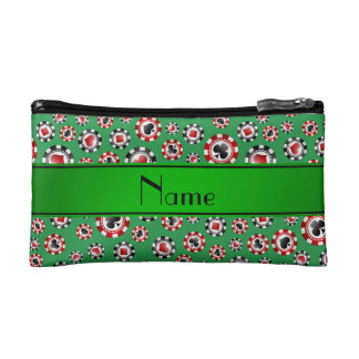 Personalized name green poker chips cosmetic bag