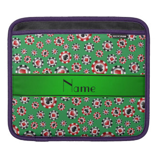 Personalized name green poker chips iPad sleeves