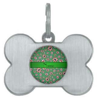 Personalized name green poker chips pet ID tag