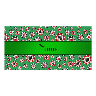 Personalized name green poker chips custom photo card
