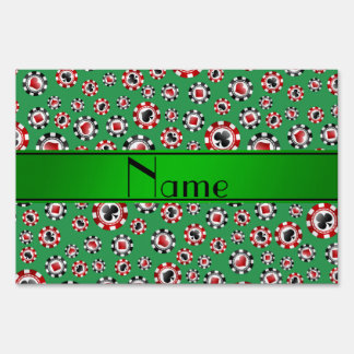 Personalized name green poker chips yard sign