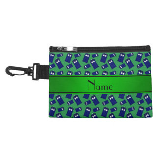 Personalized name green police box accessory bag