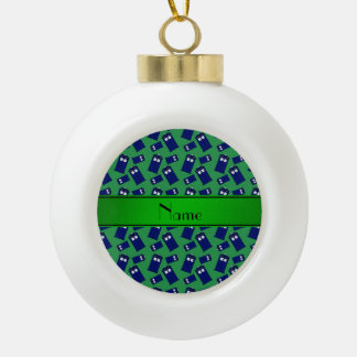 Personalized name green police box ornament
