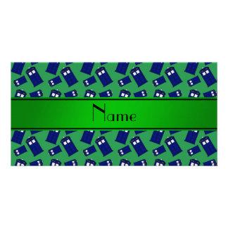 Personalized name green police box custom photo card