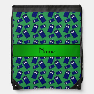 Personalized name green police box drawstring backpacks