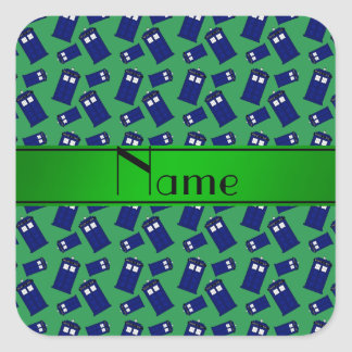 Personalized name green police box square stickers