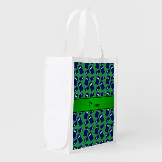 Personalized name green police box market totes