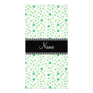 Personalized name green polka dots photo card
