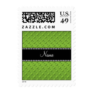 Personalized name green polka dots stamp