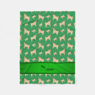 Personalized name green Pug dogs Fleece Blanket