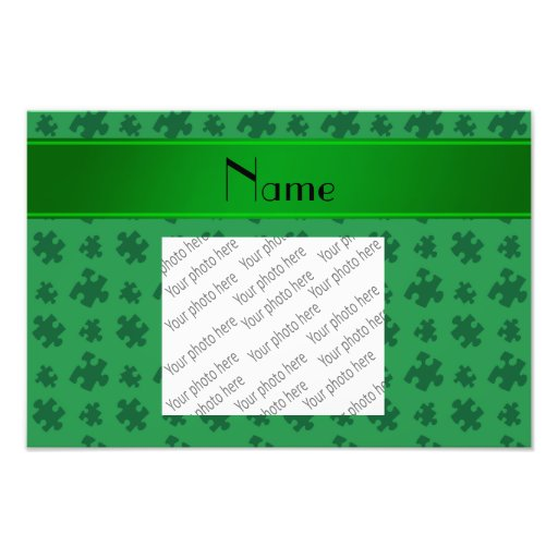 Personalized name green puzzle photographic print