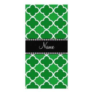 Personalized name Green quatrefoil pattern Photo Card