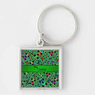 Personalized name green race car pattern Silver-Colored square keychain