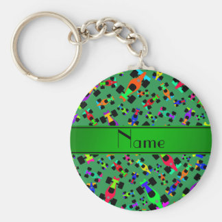Personalized name green race car pattern basic round button keychain