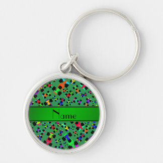 Personalized name green race car pattern Silver-Colored round keychain