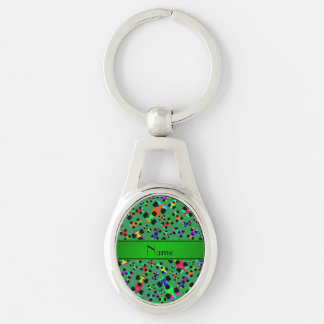 Personalized name green race car pattern Silver-Colored oval metal keychain