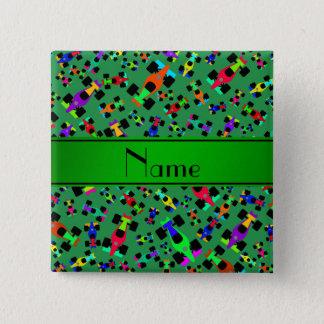 Personalized name green race car pattern pinback button