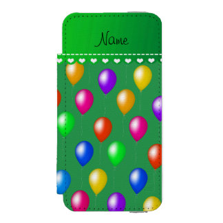 Personalized name green rainbow birthday balloons wallet case for iPhone SE/5/5s
