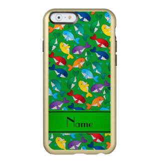 Personalized name green rainbow blue whales incipio feather shine iPhone 6 case