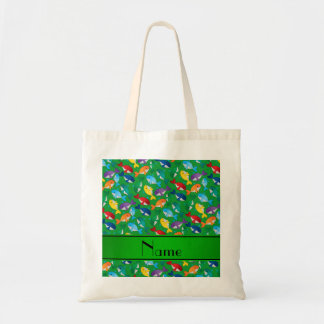 Personalized name green rainbow blue whales tote bag