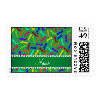Personalized name green rainbow boots postage