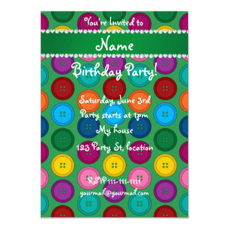 Personalized name green rainbow buttons pattern 5x7 paper invitation card