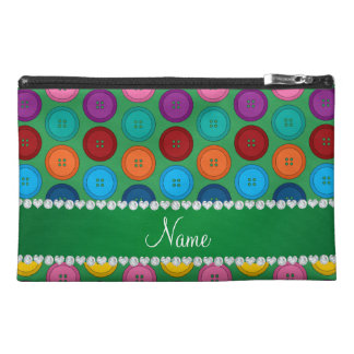 Personalized name green rainbow buttons pattern travel accessories bags