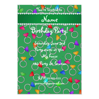 Personalized name green rainbow diamond ring 5x7 paper invitation card