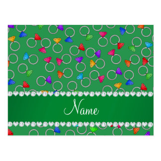Personalized name green rainbow diamond ring postcard