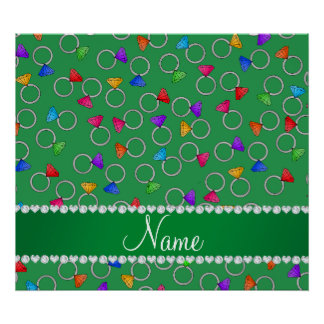 Personalized name green rainbow diamond ring poster