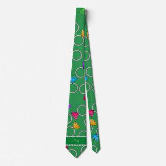 Personalized name green rainbow diamond ring tie